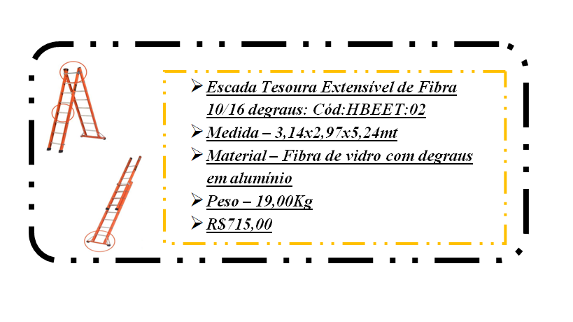 hbeet02 escada extensível tesoura 10 degraus